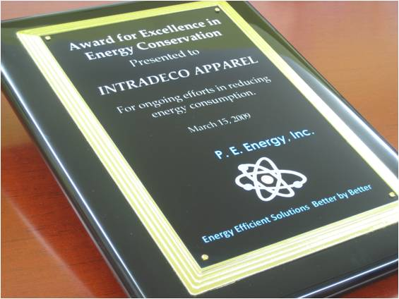 Award for Excellence in Energy Conservation Presented to INTRADECO APPAREL