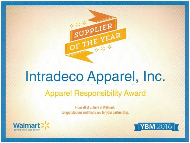 Intradeco Received Walmart's Apparel Responsibility Award